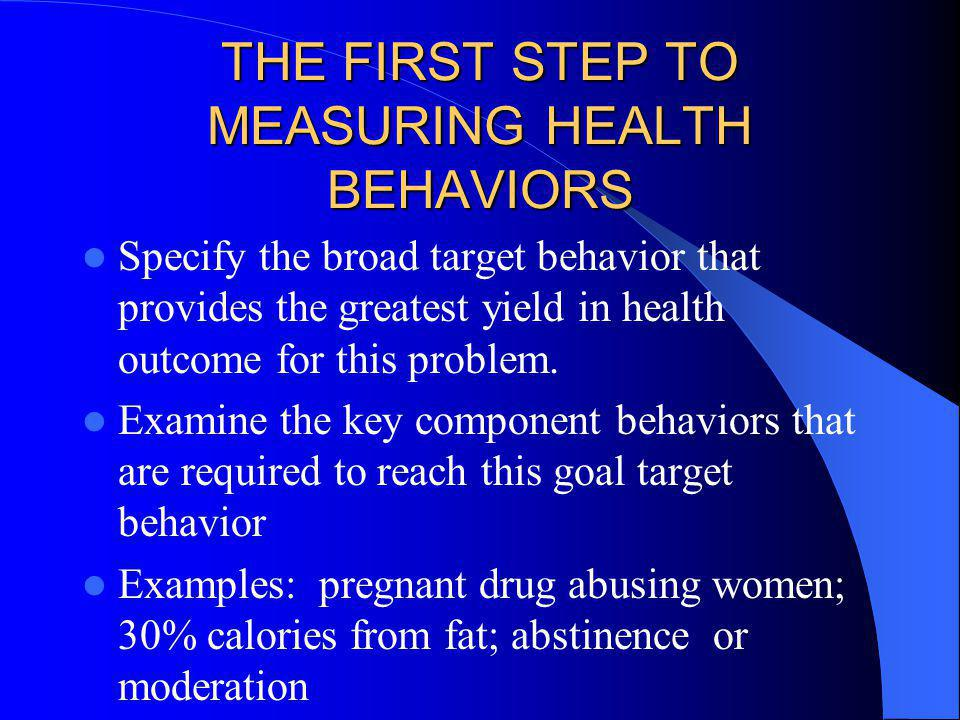 THE FIRST STEP TO MEASURING HEALTH BEHAVIORS