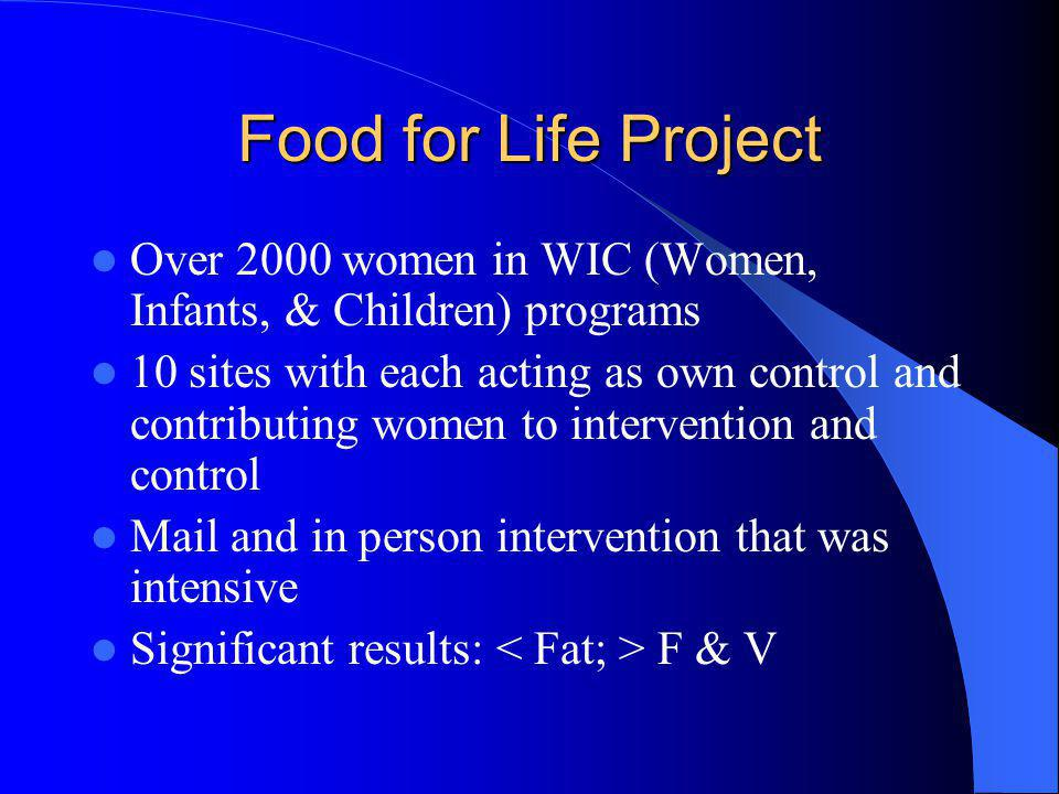 Food for Life Project Over 2000 women in WIC (Women, Infants, & Children) programs.