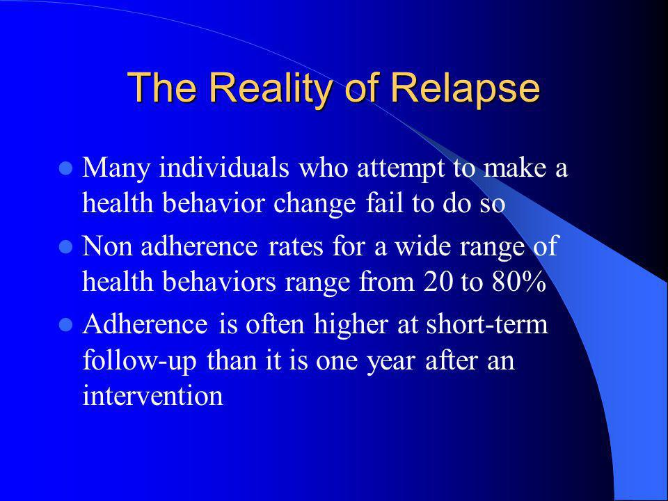 The Reality of Relapse Many individuals who attempt to make a health behavior change fail to do so.