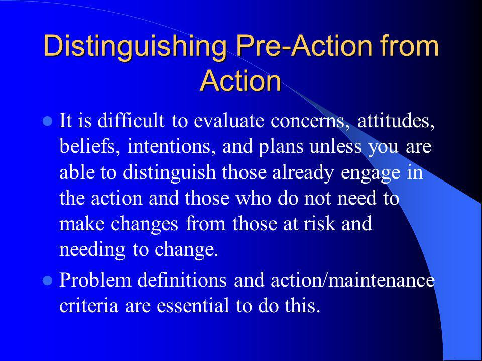 Distinguishing Pre-Action from Action