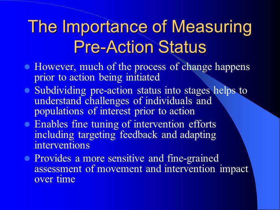 The Importance of Measuring Pre-Action Status