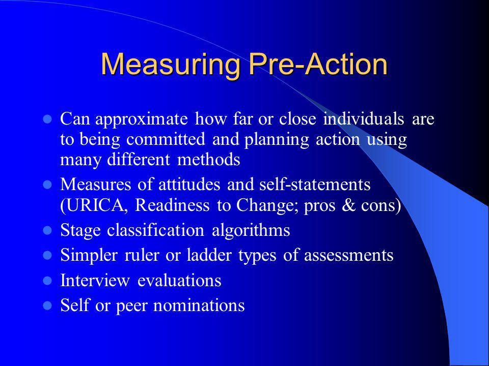 Measuring Pre-Action Can approximate how far or close individuals are to being committed and planning action using many different methods.