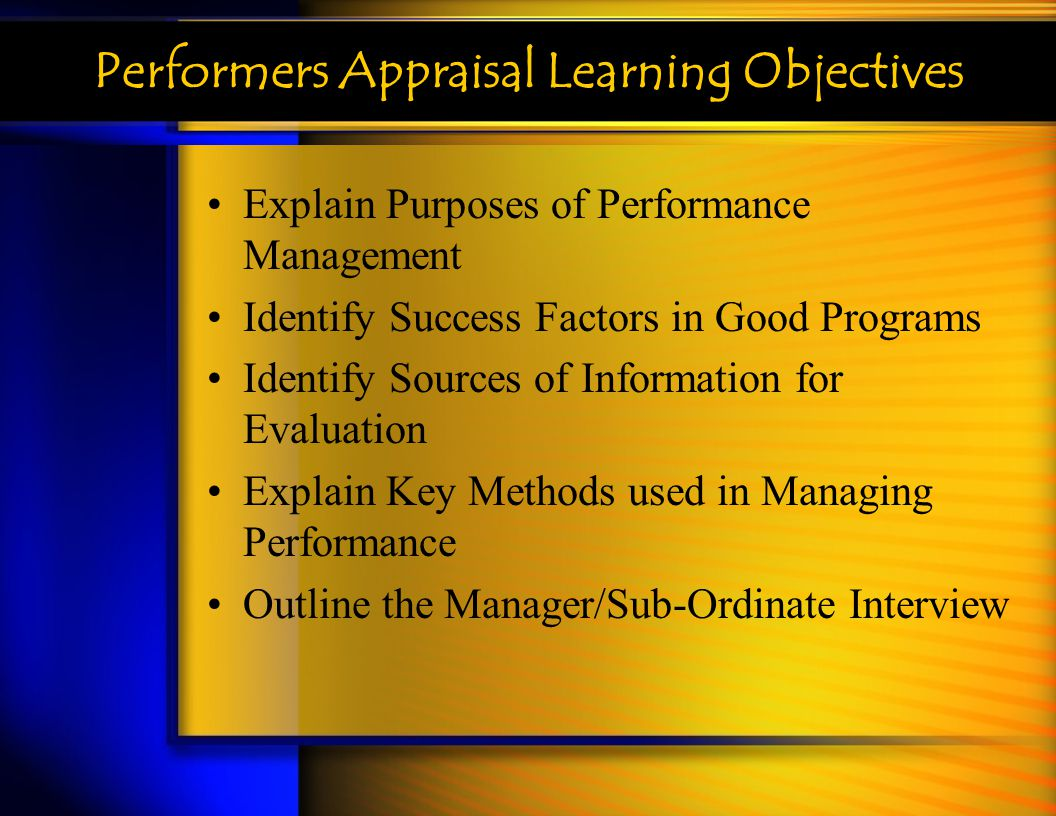 Performers Appraisal Learning Objectives