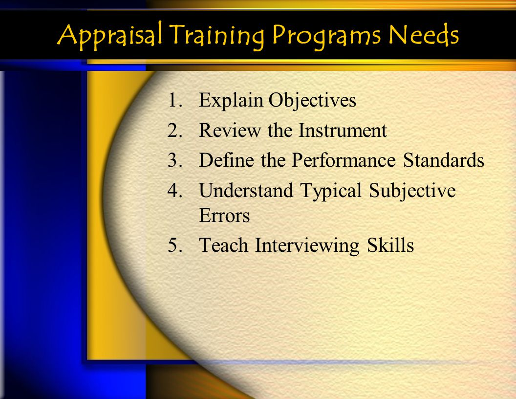Appraisal Training Programs Needs