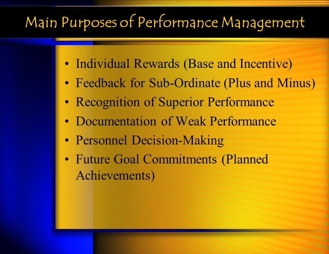 Main Purposes of Performance Management