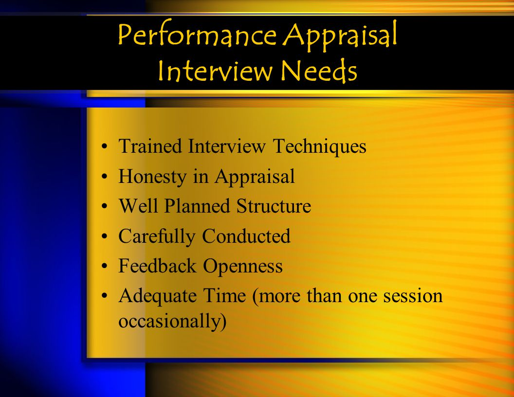 Performance Appraisal Interview Needs