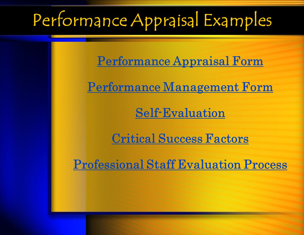 Performance Appraisal Examples