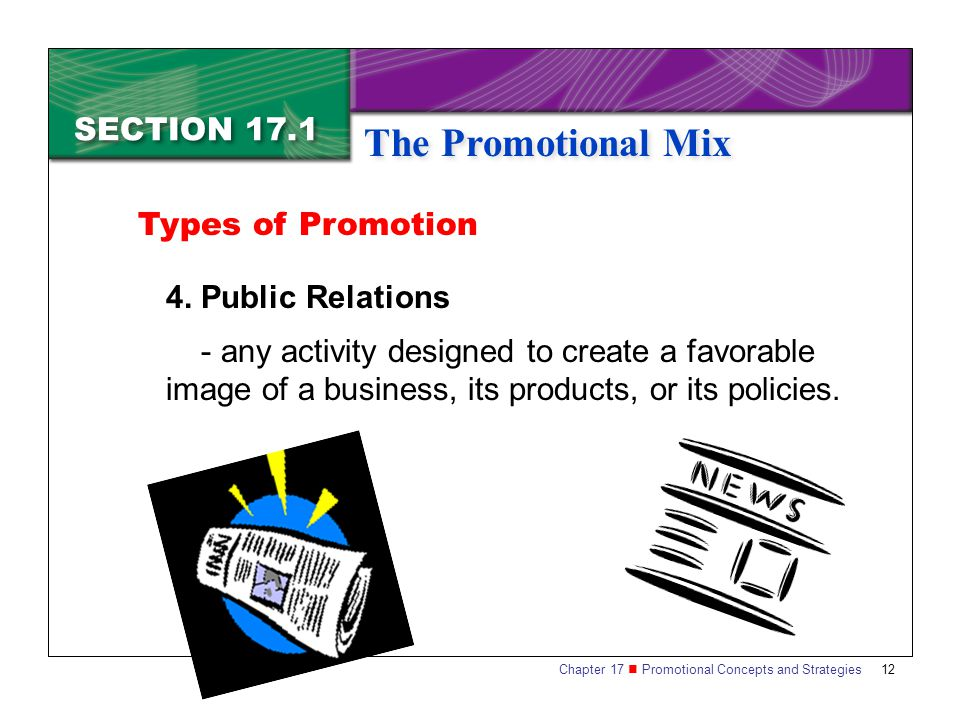Types of Promotion 4. Public Relations.