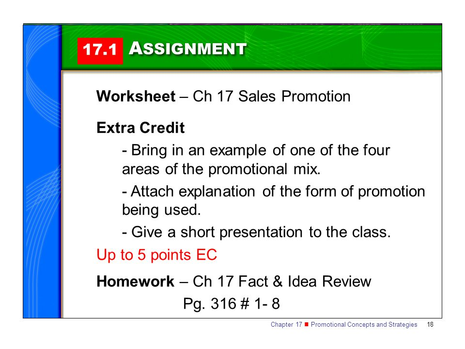 ASSIGNMENT 17.1 Worksheet – Ch 17 Sales Promotion Extra Credit