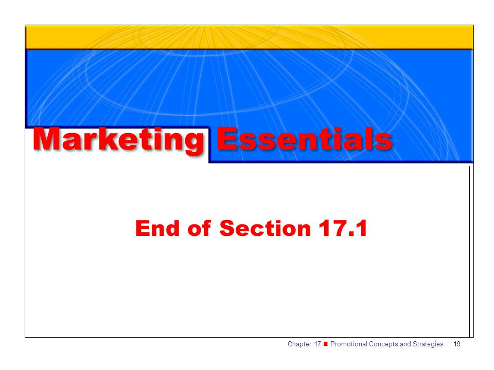 Marketing Essentials End of Section 17.1