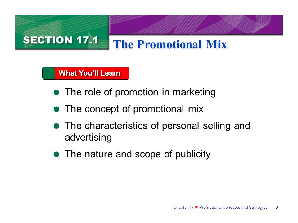 The Promotional Mix SECTION 17.1 The role of promotion in marketing