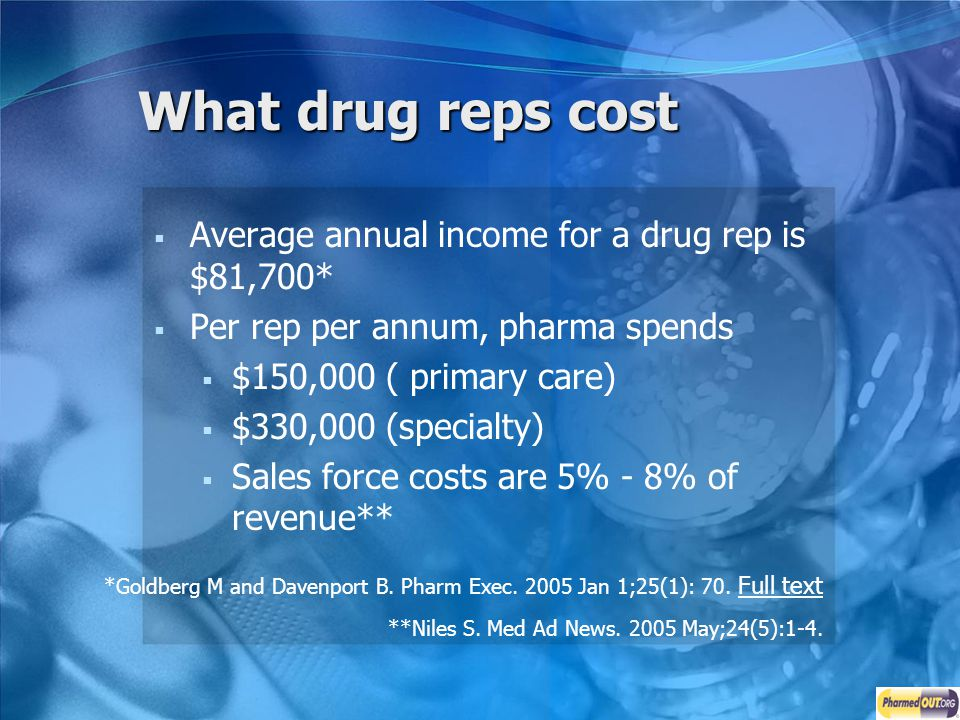 What drug reps cost Average annual income for a drug rep is $81,700*