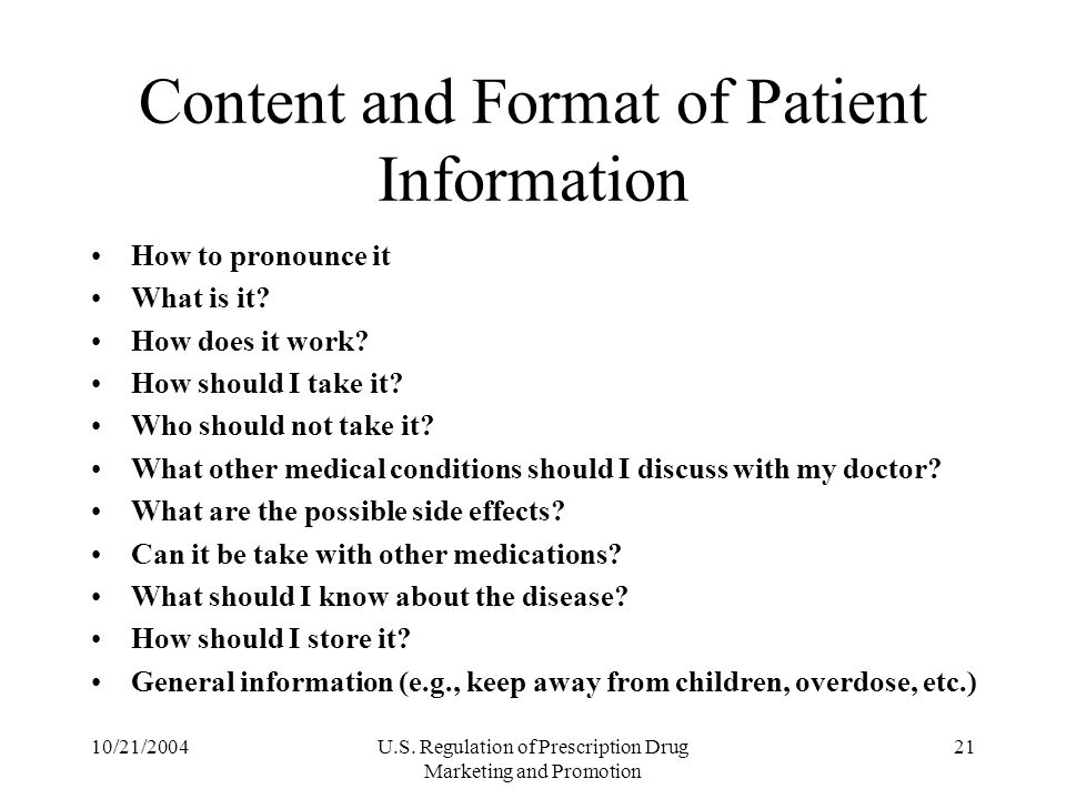 Content and Format of Patient Information