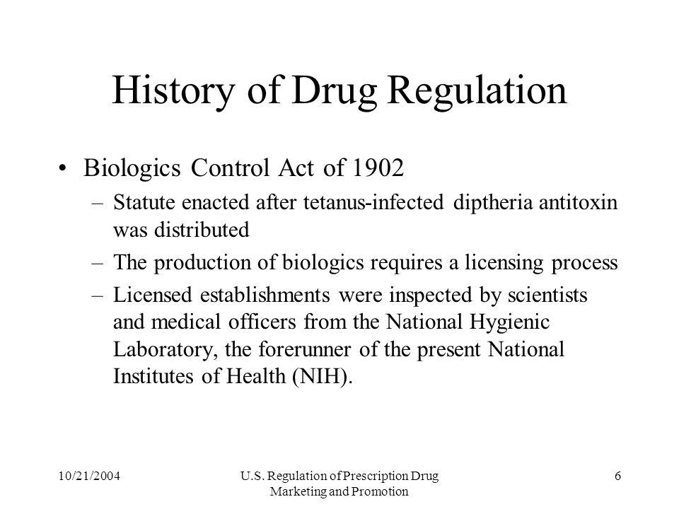 History of Drug Regulation