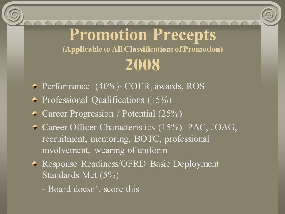 Promotion Process Promotion Precepts (Applicable to All Classifications of Promotion) 2008. Performance (40%)- COER, awards, ROS.
