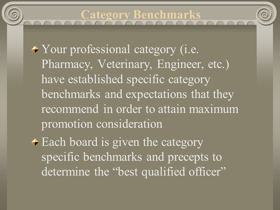 Promotion Process Category Benchmarks.