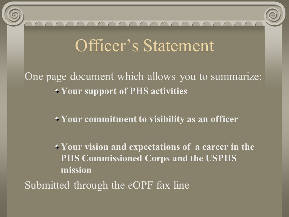 Officer's Statement One page document which allows you to summarize: