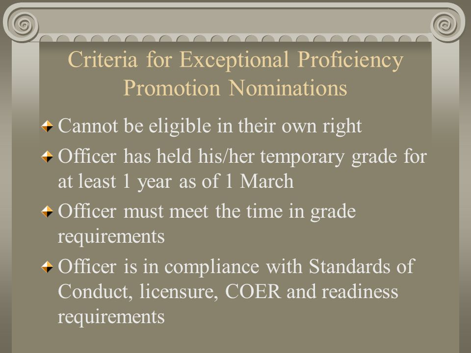Criteria for Exceptional Proficiency Promotion Nominations