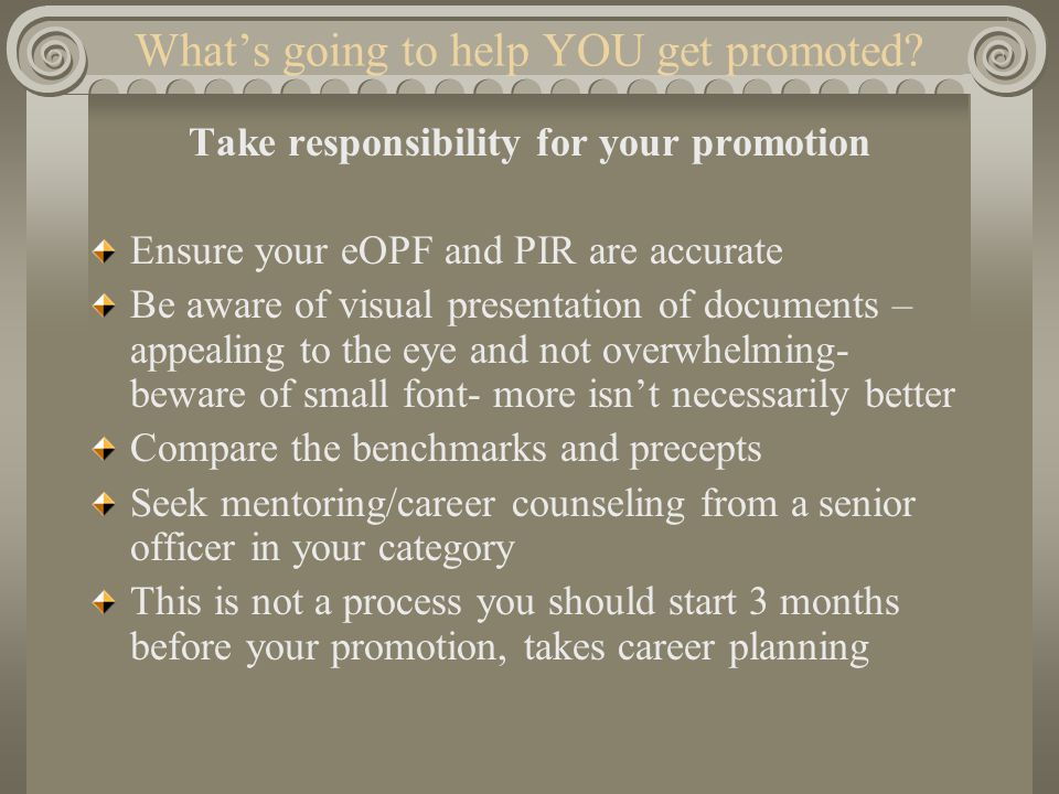 What's going to help YOU get promoted