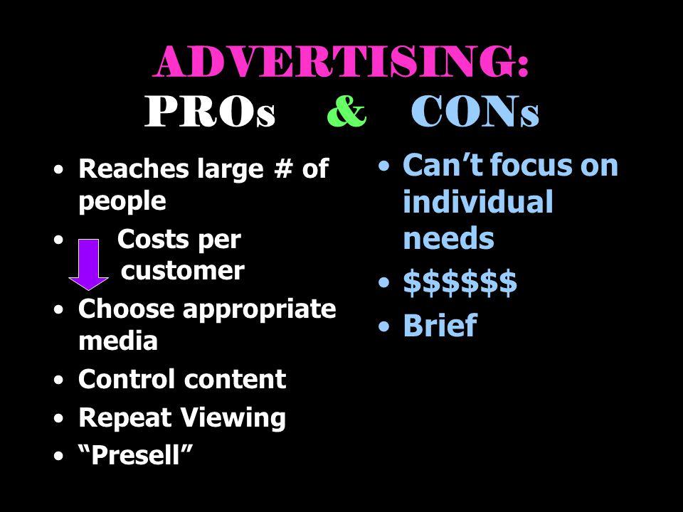 ADVERTISING: PROs & CONs