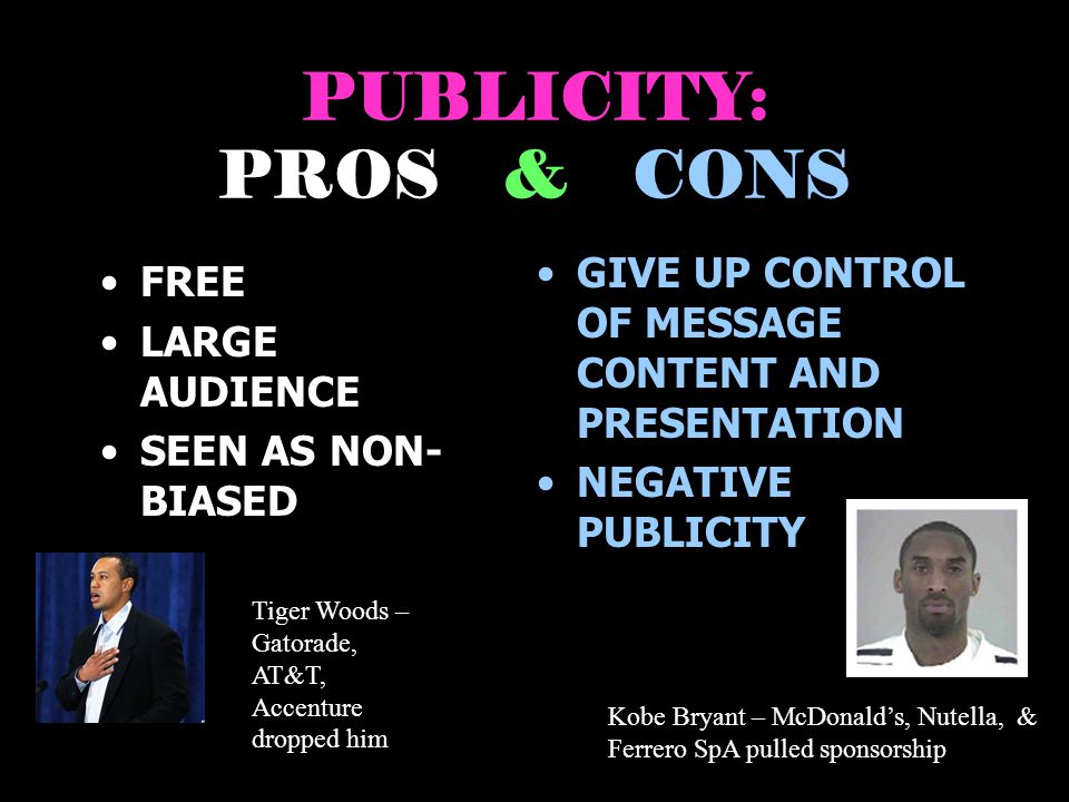 PUBLICITY: PROS & CONS GIVE UP CONTROL OF MESSAGE CONTENT AND PRESENTATION. NEGATIVE PUBLICITY.