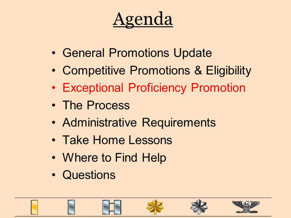 Agenda General Promotions Update Competitive Promotions & Eligibility