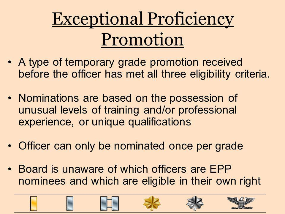 Exceptional Proficiency Promotion