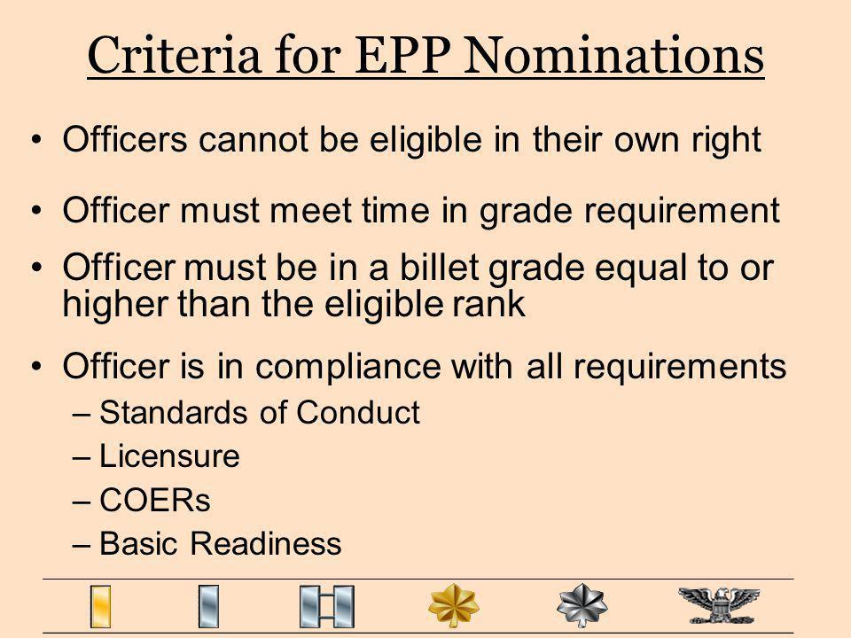 Criteria for EPP Nominations