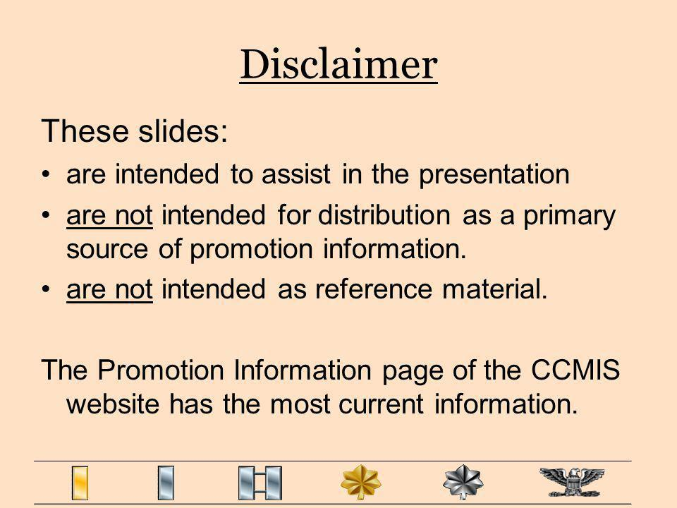Disclaimer These slides: are intended to assist in the presentation