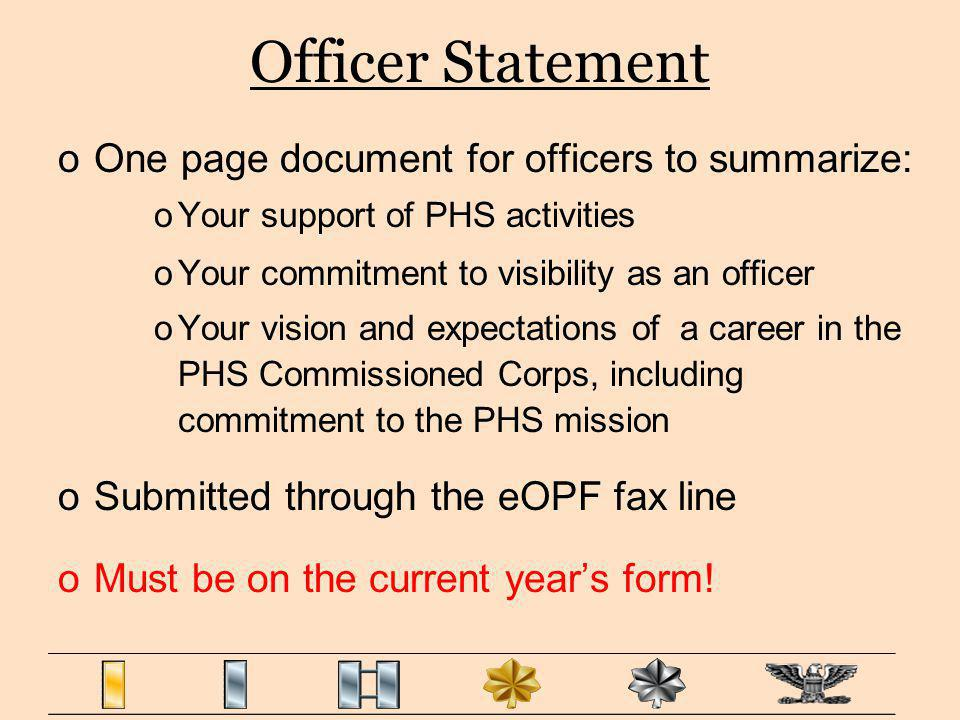 Officer Statement One page document for officers to summarize: