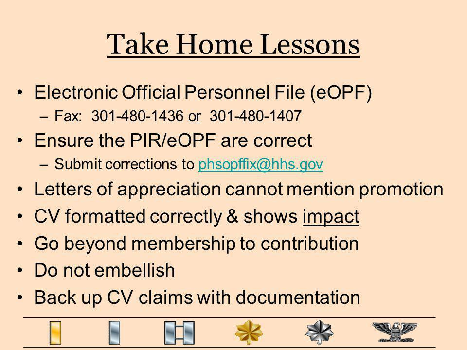 Take Home Lessons Electronic Official Personnel File (eOPF)