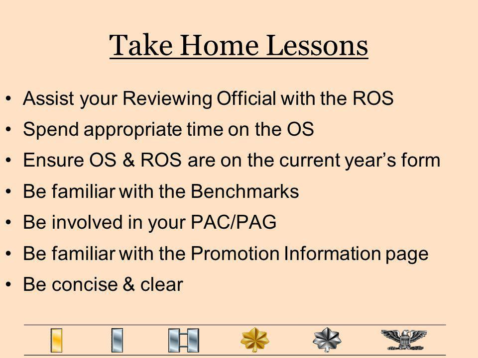 Take Home Lessons Assist your Reviewing Official with the ROS
