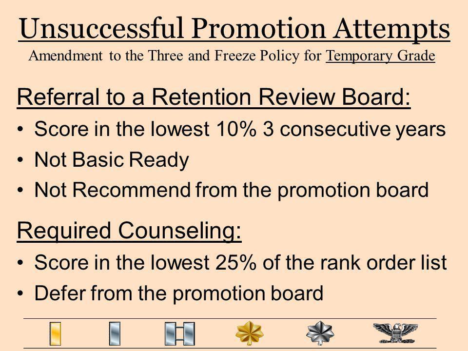 Unsuccessful Promotion Attempts