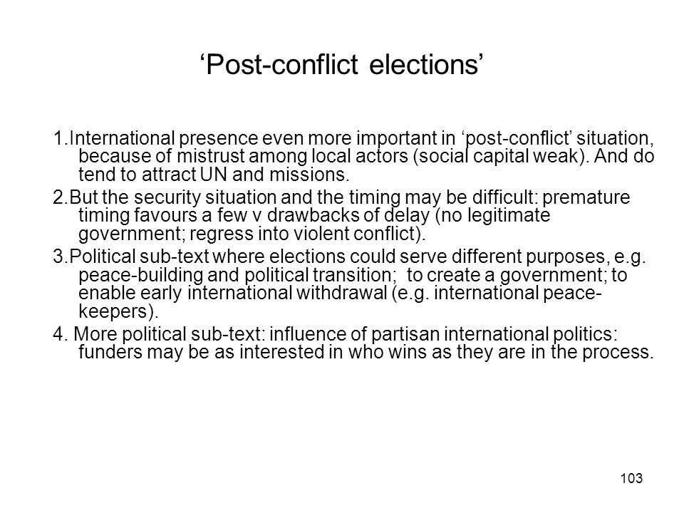 'Post-conflict elections'