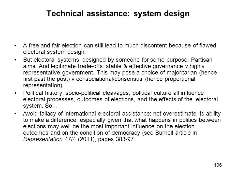 Technical assistance: system design