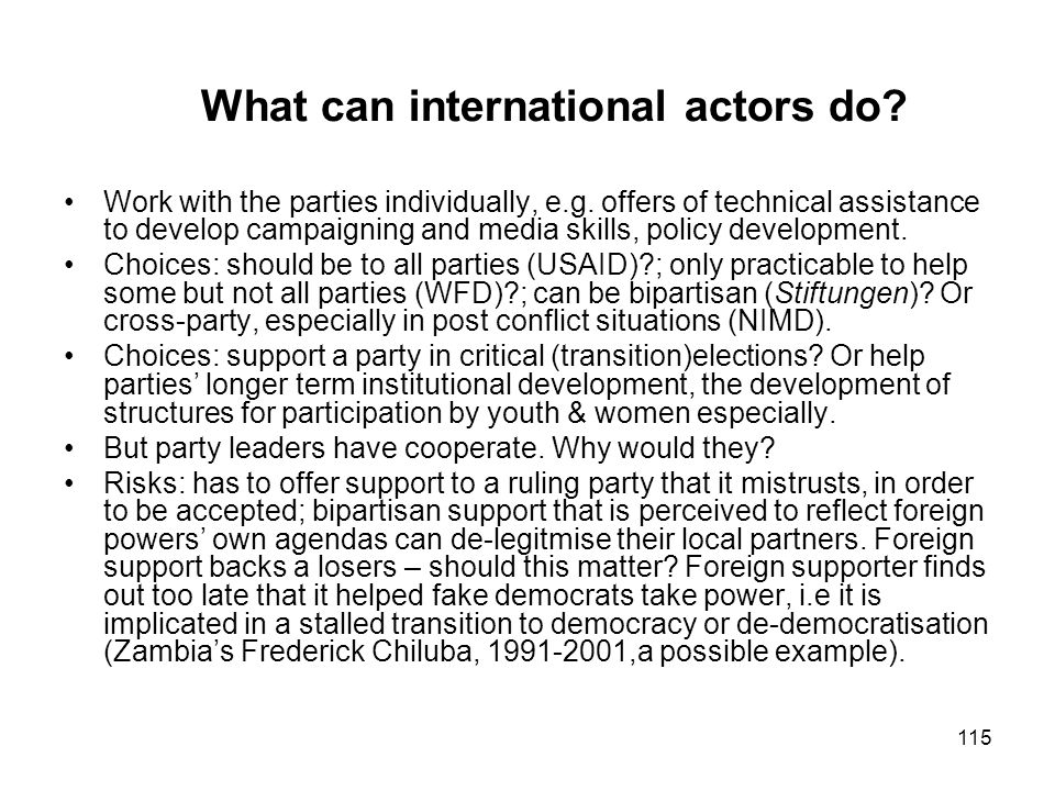 What can international actors do