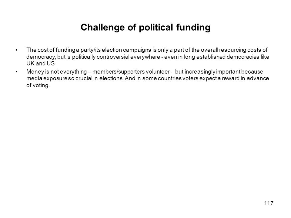 Challenge of political funding