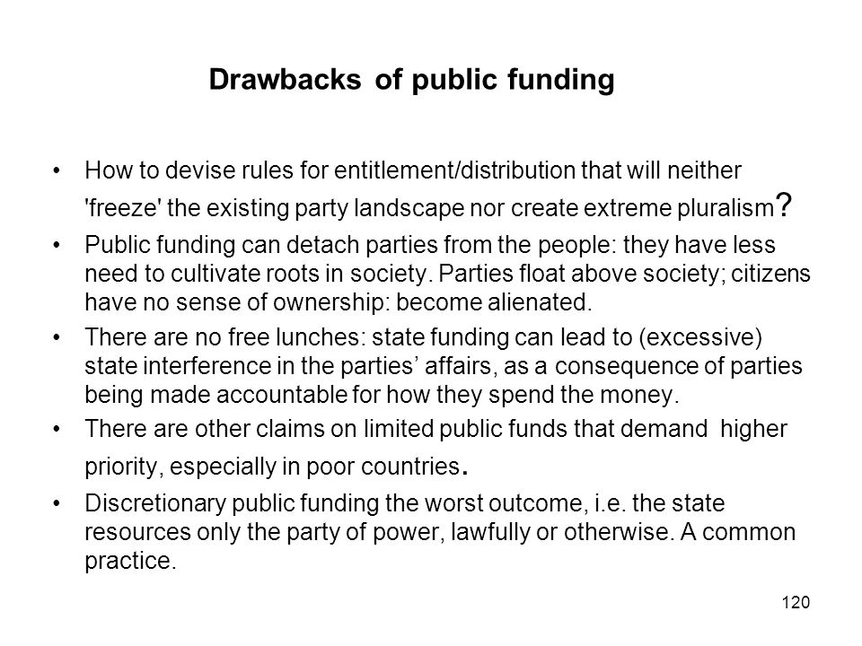 Drawbacks of public funding