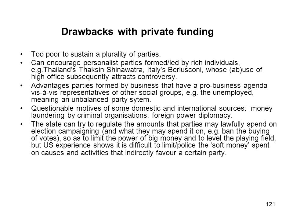 Drawbacks with private funding
