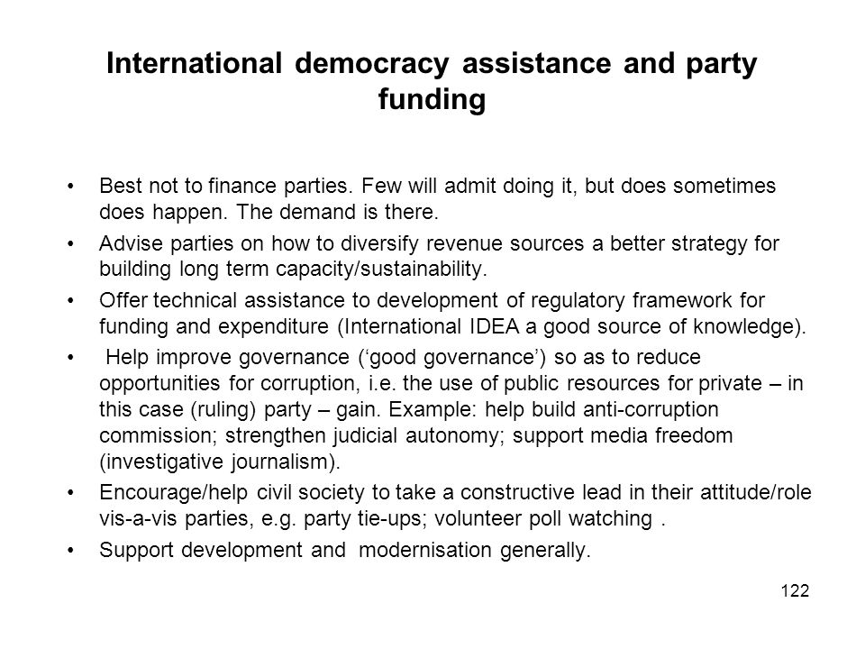 International democracy assistance and party funding