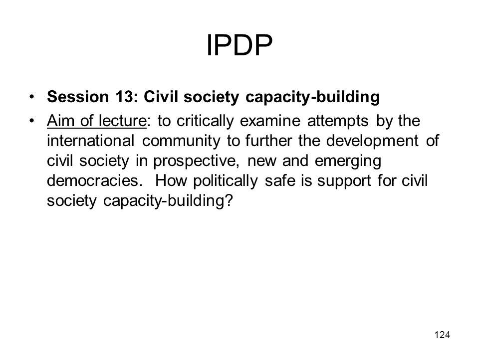 IPDP Session 13: Civil society capacity-building