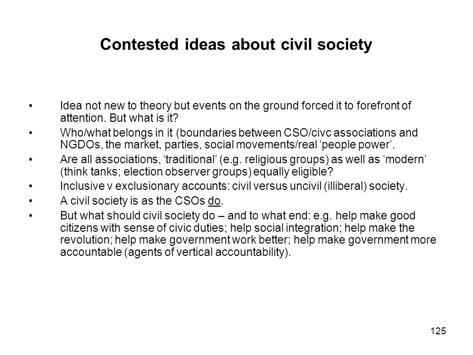 Contested ideas about civil society