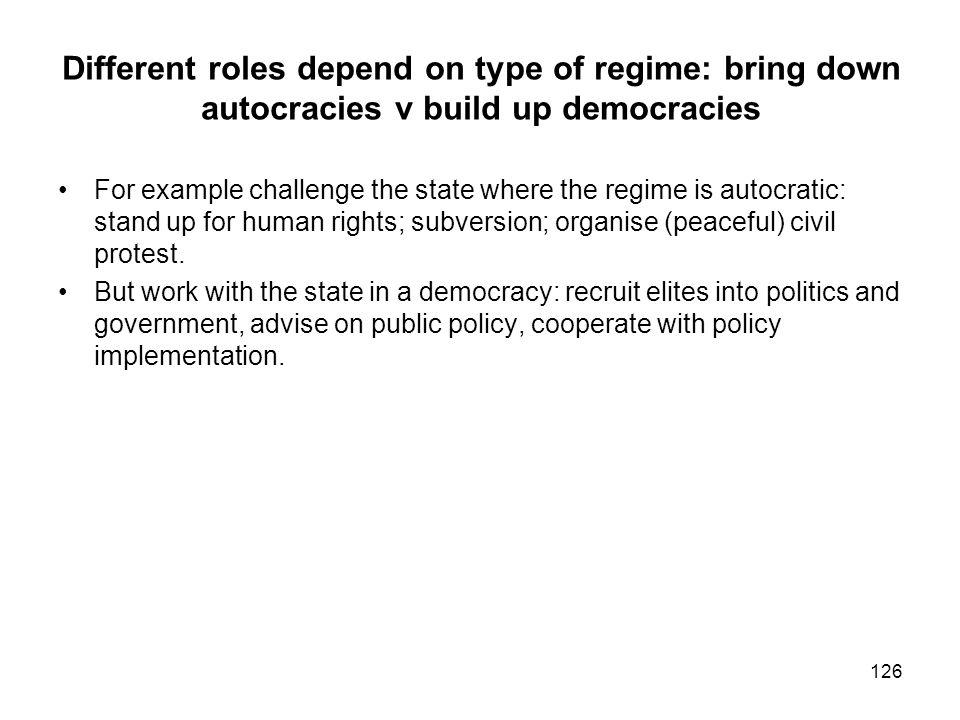 Different roles depend on type of regime: bring down autocracies v build up democracies