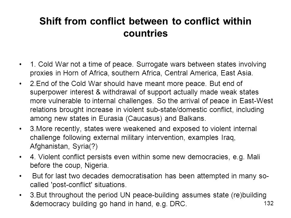 Shift from conflict between to conflict within countries