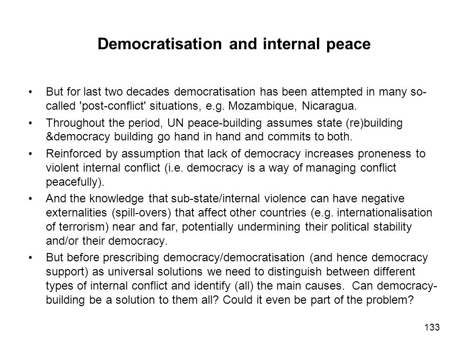 Democratisation and internal peace