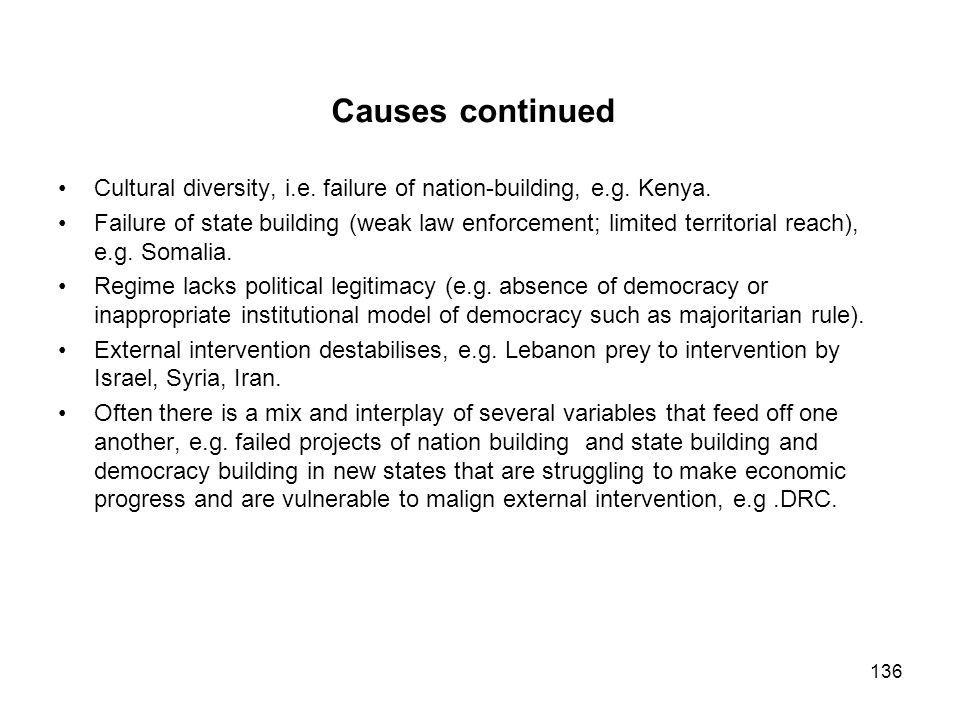 Causes continued Cultural diversity, i.e. failure of nation-building, e.g. Kenya.