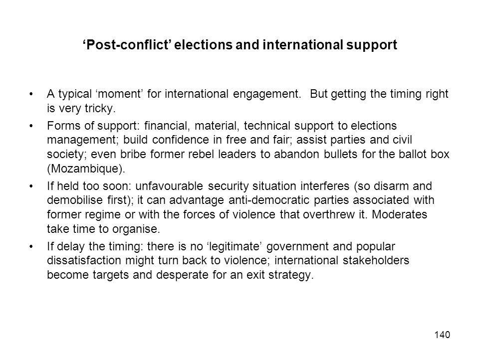 'Post-conflict' elections and international support