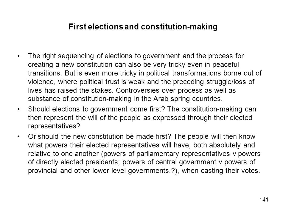 First elections and constitution-making