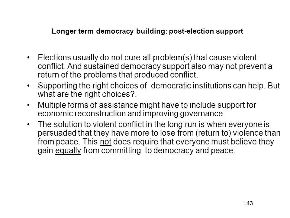 Longer term democracy building: post-election support