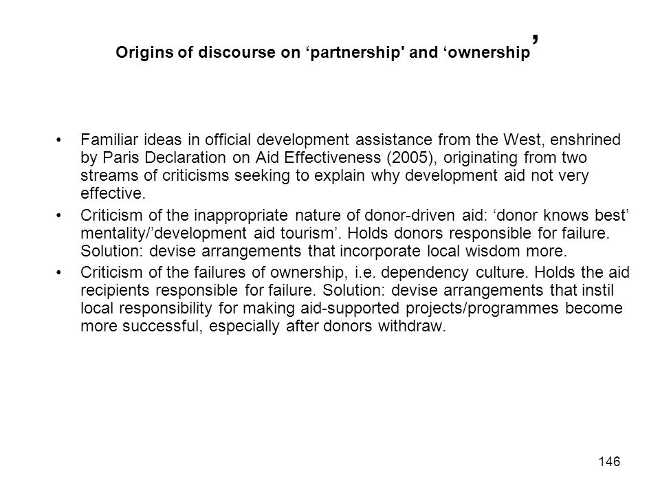 Origins of discourse on 'partnership and 'ownership'
